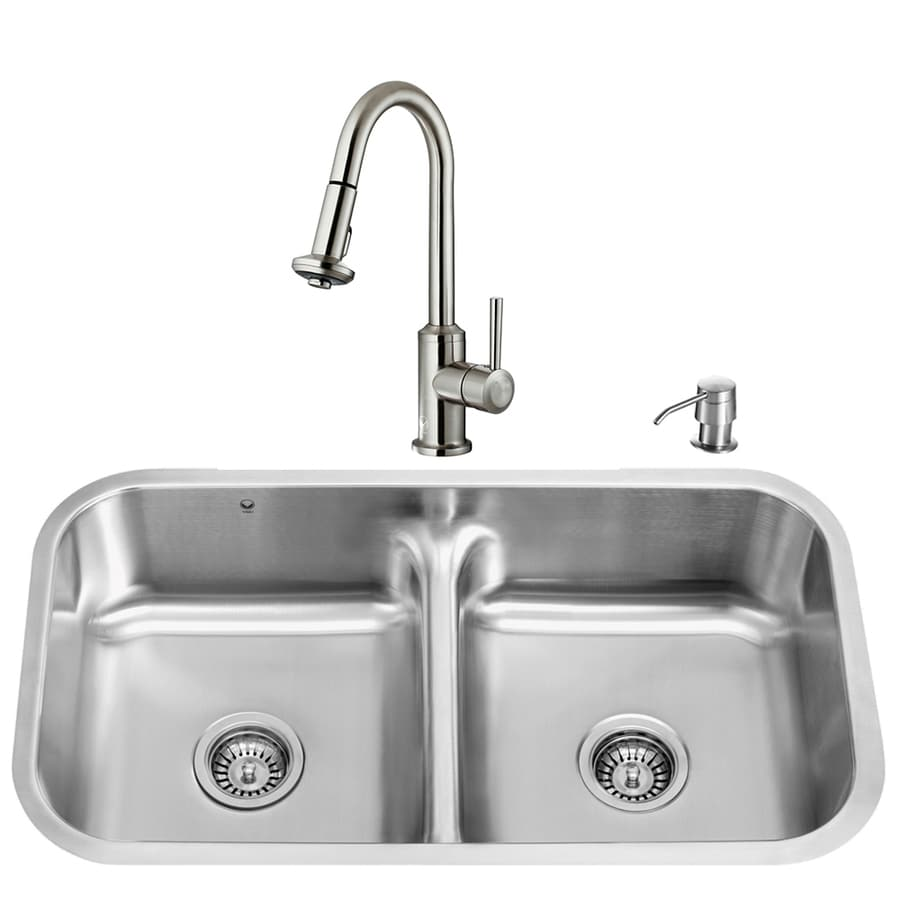VIGO 32.5-in x 18.25-in Matte/Brushed Steel-Stainless Double-Basin Undermount Commercial/Residential Kitchen Sink All-In-One Kit