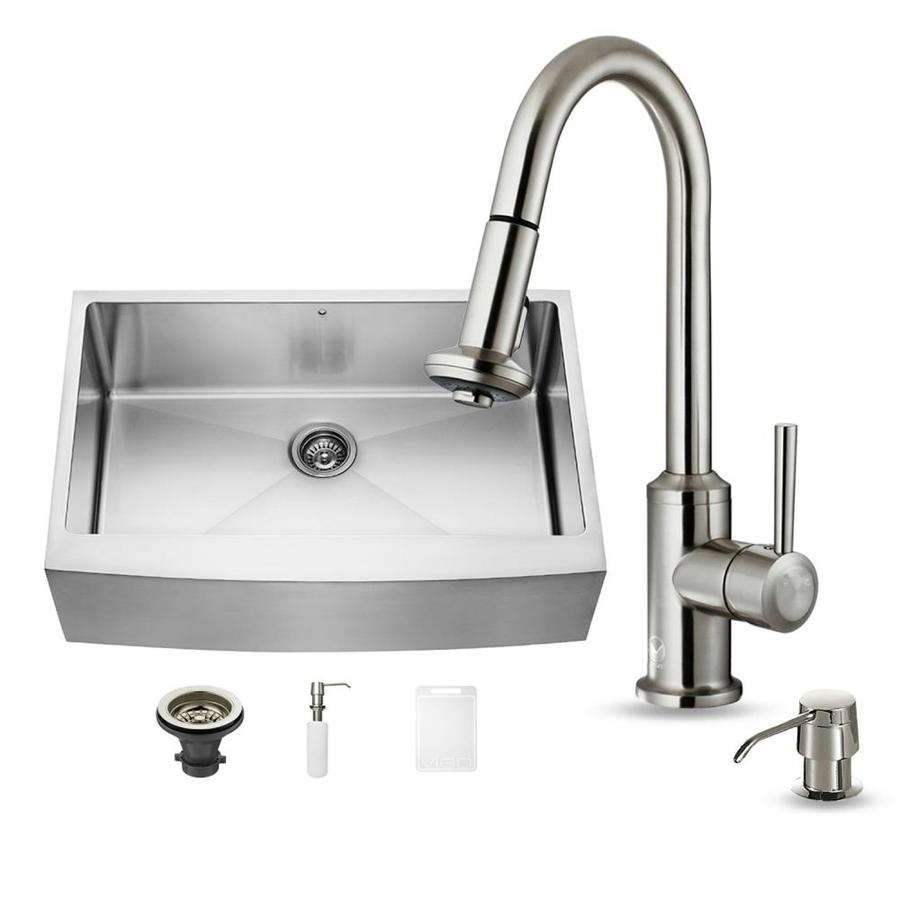 VIGO 33.0-in x 22.25-in Premium Satin Single-Basin-Basin Stainless Steel Apron Front/Farmhouse (Customizable)-Hole Commercial/Residential Kitchen Sink All-In-One Kit
