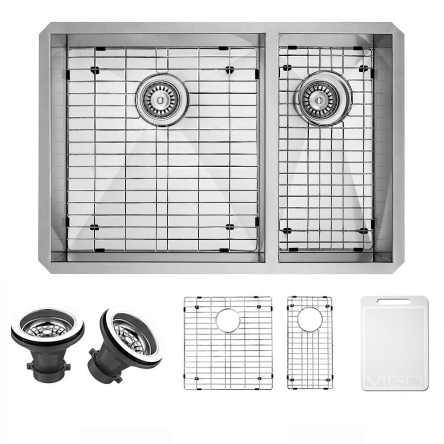 VIGO 29-in x 20-in Stainless Steel 2 Stainless Steel Undermount (Customizable)-Hole Commercial/Residential Kitchen Sink