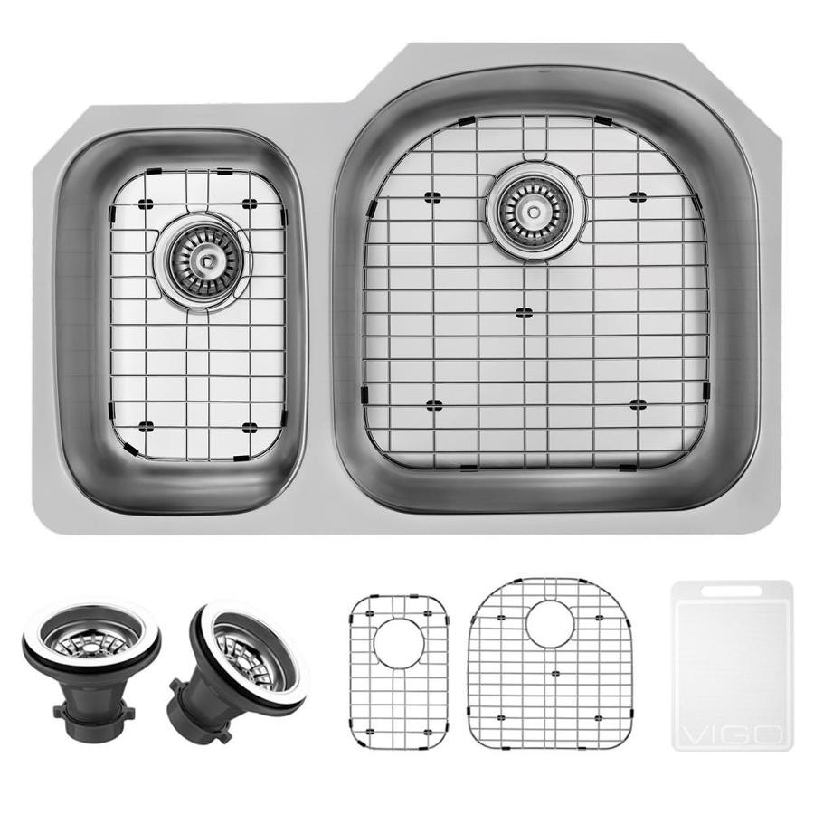 VIGO 31.5-in x 20.5-in Stainless Steel 2 Stainless Steel Undermount (Customizable)-Hole Commercial/Residential Kitchen Sink