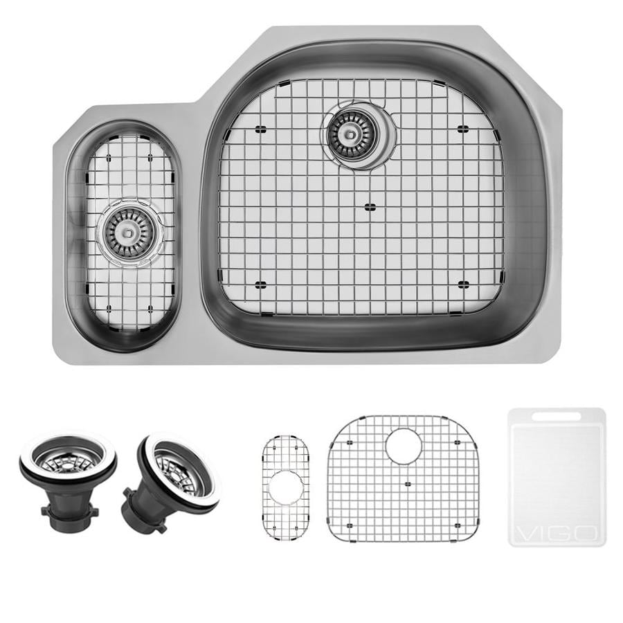 VIGO 31.75-in x 21-in Stainless Steel Double-Basin Stainless Steel Undermount Commercial/Residential Kitchen Sink