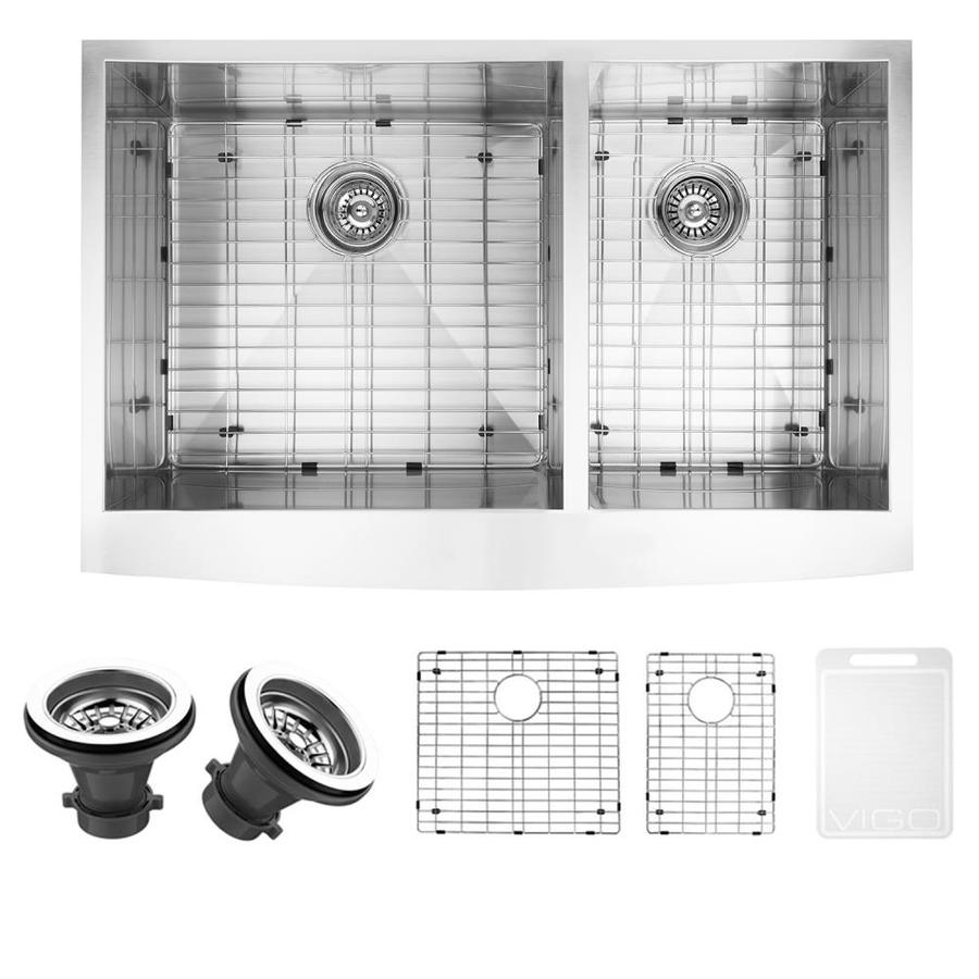VIGO 36.0-in x 22.25-in Double-Basin Stainless Steel Apron Front/Farmhouse Commercial/Residential Kitchen Sink