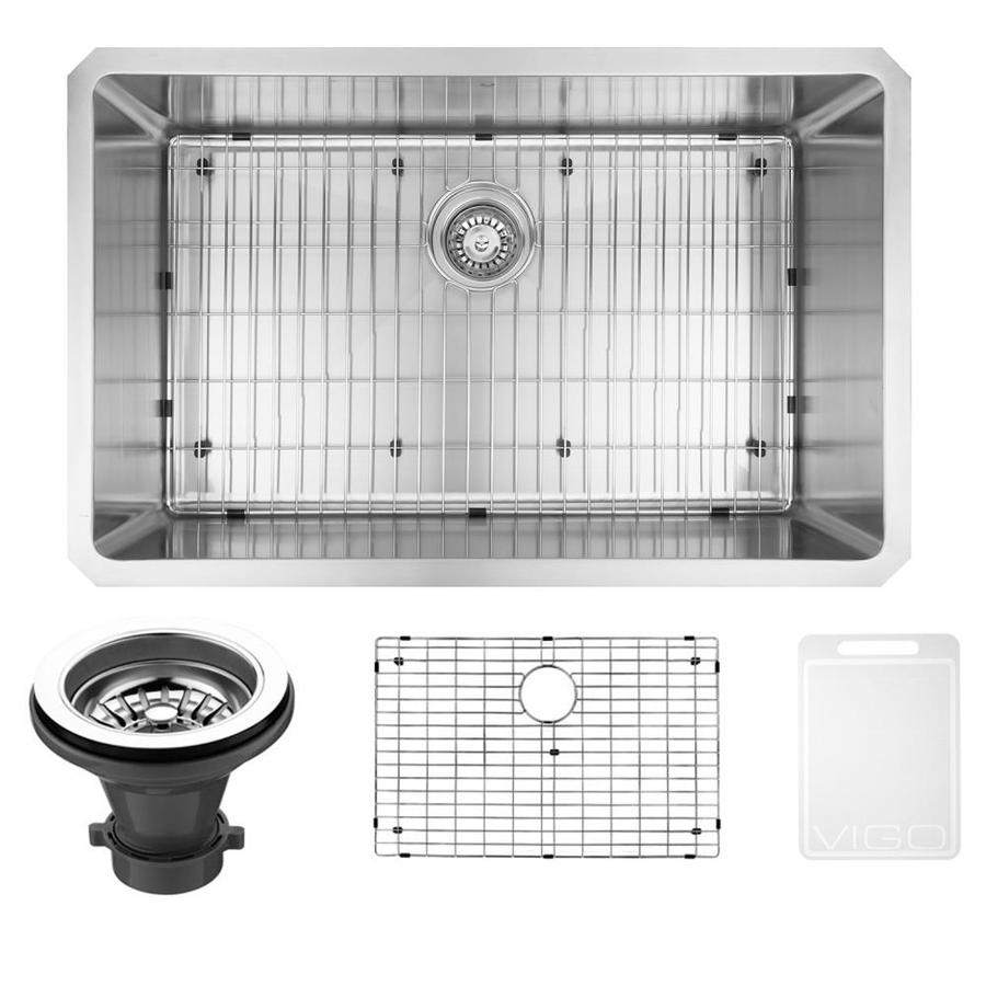 VIGO 30.0-in x 19.0-in Single-Basin Stainless Steel Undermount Commercial/Residential Kitchen Sink