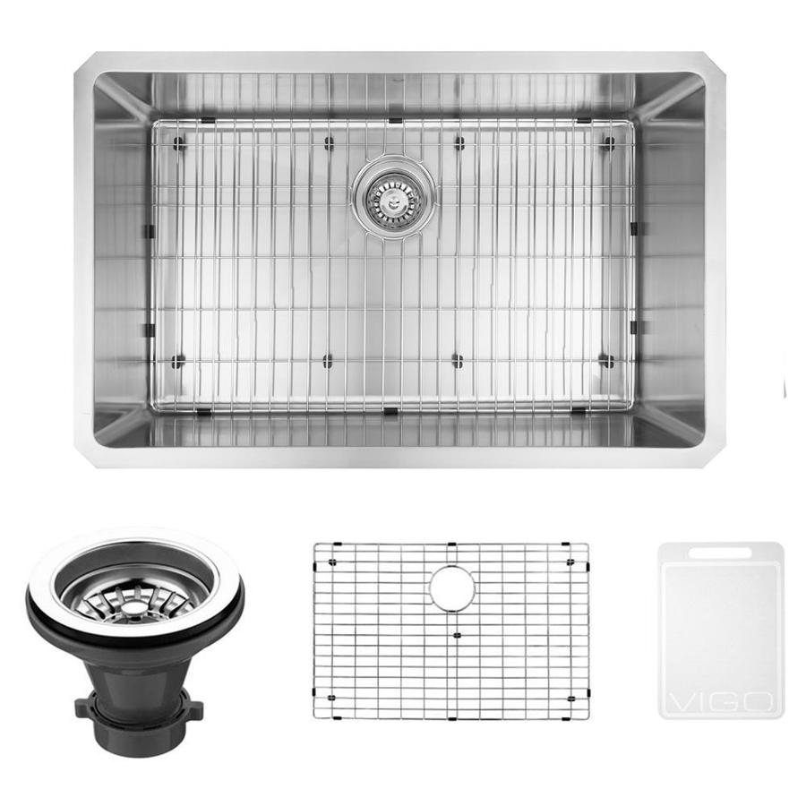 VIGO 32.0-in x 19.0-in Single-Basin Stainless Steel Undermount Commercial/Residential Kitchen Sink