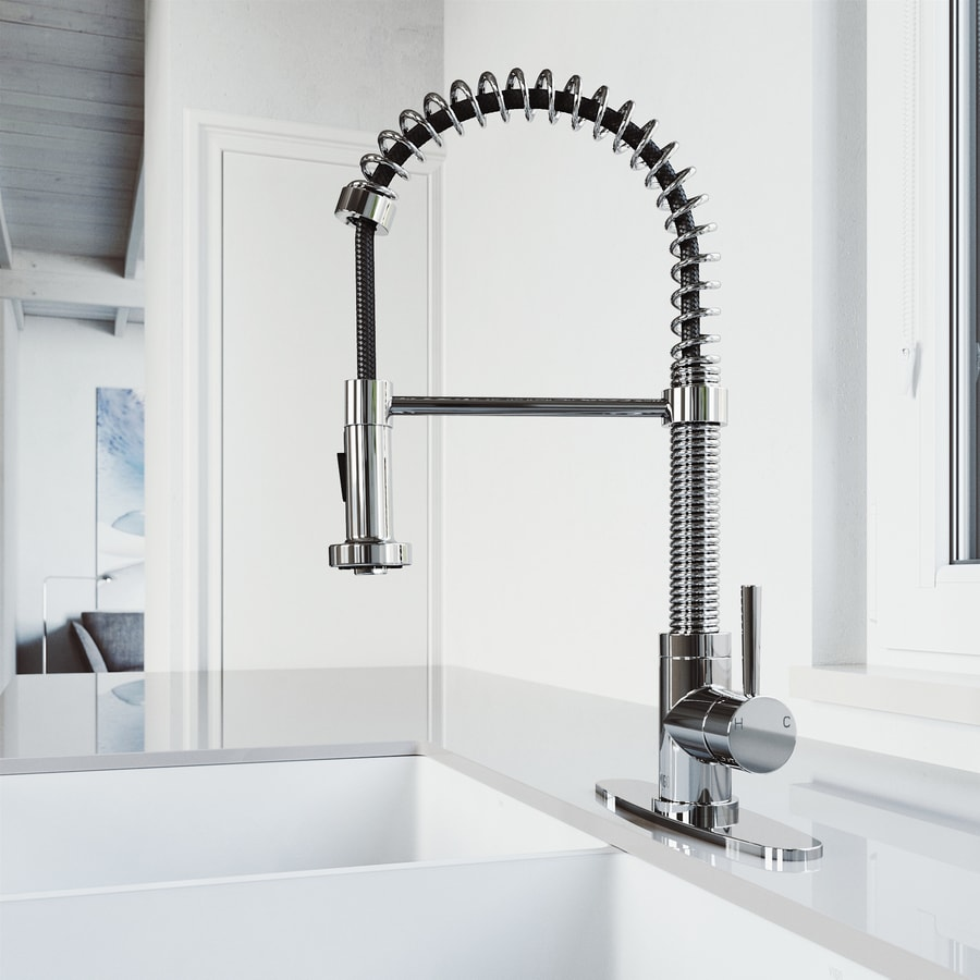 VIGO Edison Chrome 1-Handle Deck Mount Pull-Down Kitchen Faucet