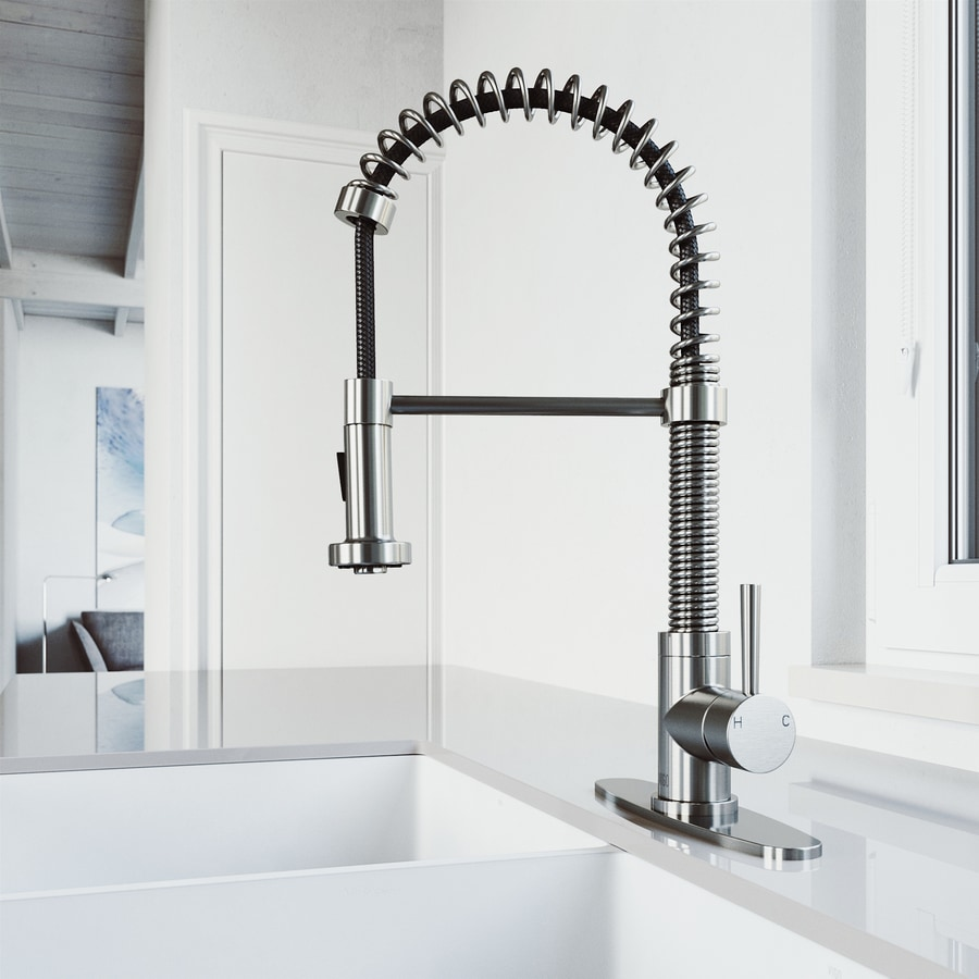 Shop Vigo Edison Stainless Steel 1 Handle Deck Mount Pull Down Kitchen Faucet At Lowes Com
