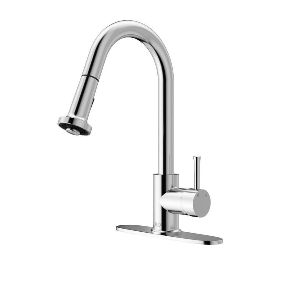 VIGO Harrison Chrome 1-Handle Deck Mount Pull-Down Kitchen Faucet