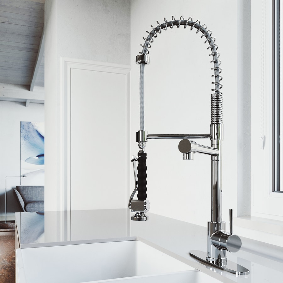 Commercial Sink Sprayer Parts : Shop VIGO Chrome 1-Handle Pre-Rinse Kitchen Faucet at Lowes.com