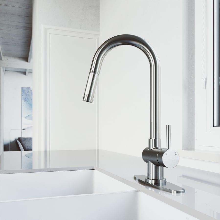 VIGO Gramercy Stainless Steel 1-Handle Deck Mount Pull-Down Kitchen Faucet