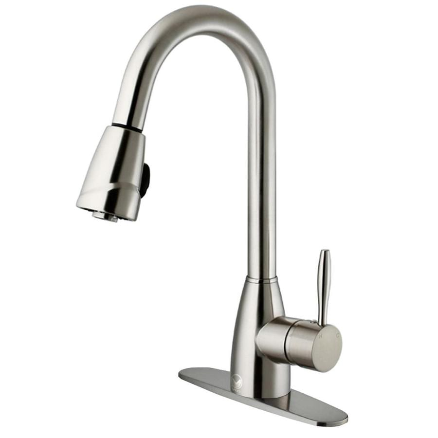 VIGO Graham Stainless Steel 1-Handle Deck Mount Pull-Down Kitchen Faucet