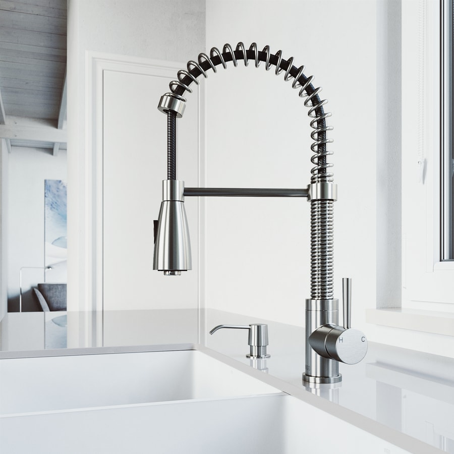 VIGO Brant Stainless Steel 1-Handle Deck Mount Pull-Down Kitchen Faucet