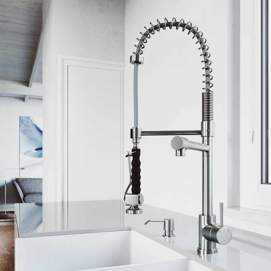 VIGO Zurich Stainless Steel 1-Handle Deck Mount Pull-Down Kitchen Faucet
