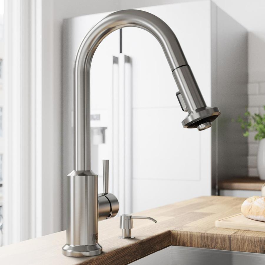 VIGO Astor Stainless Steel 1-Handle Deck Mount Pull-Down Kitchen Faucet