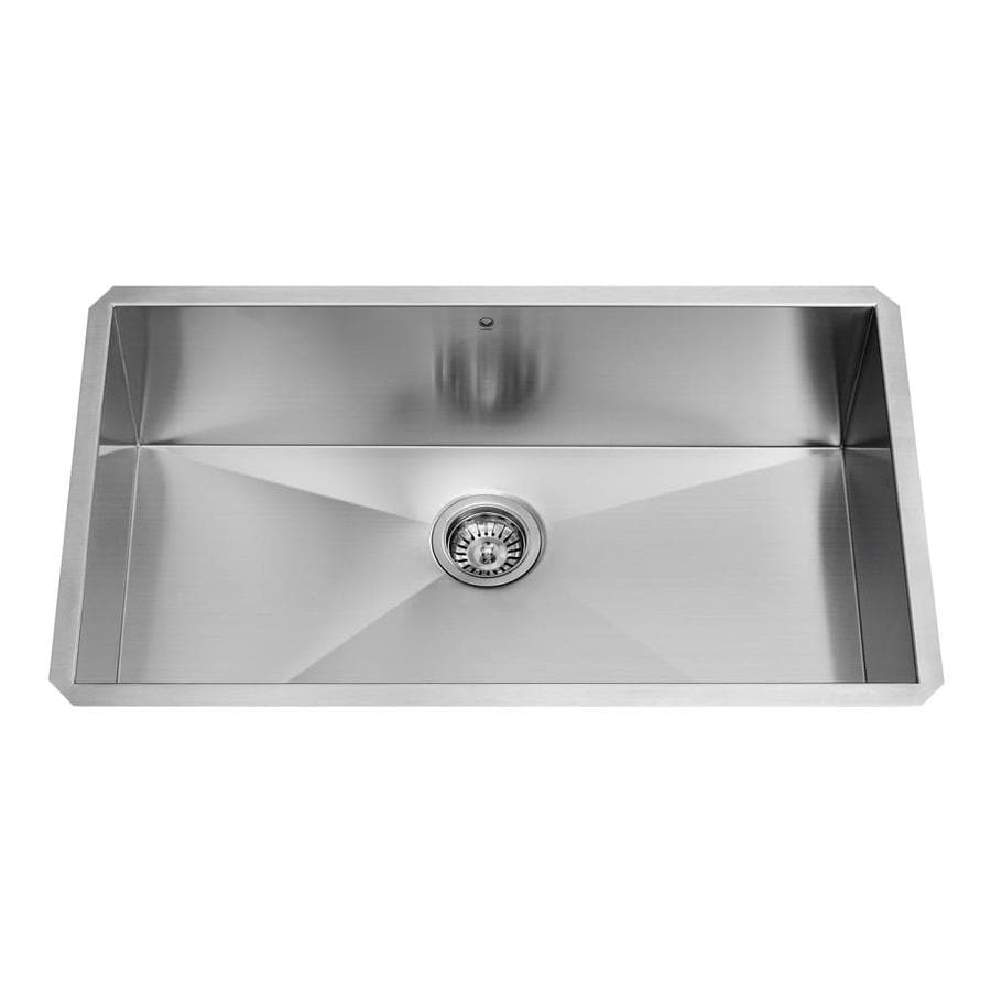 VIGO 30.0-in x 19.0-in Premium Satin Single-Basin-Basin Stainless Steel Undermount (Customizable)-Hole Commercial/Residential Kitchen Sink