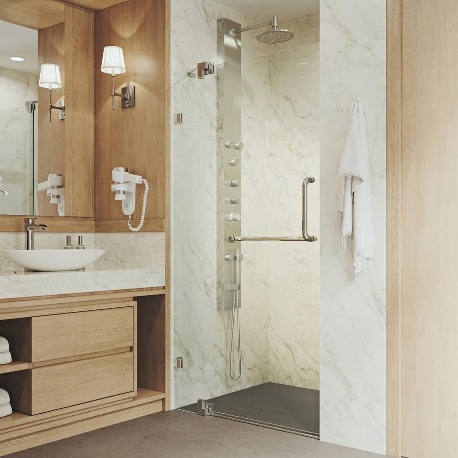 VIGO Pirouette 30-in to 36-in Frameless Brushed Nickel Hinged Shower Door