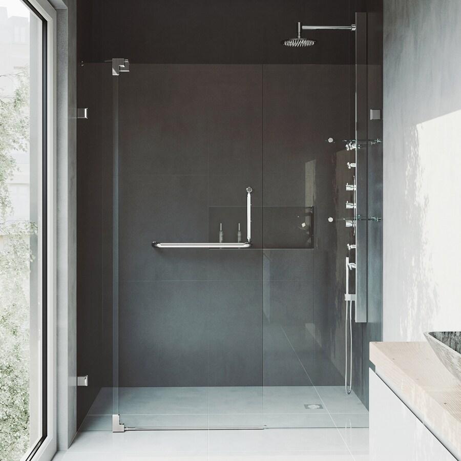 VIGO Pirouette 48-in to 54-in Frameless Brushed Nickel Hinged Shower Door
