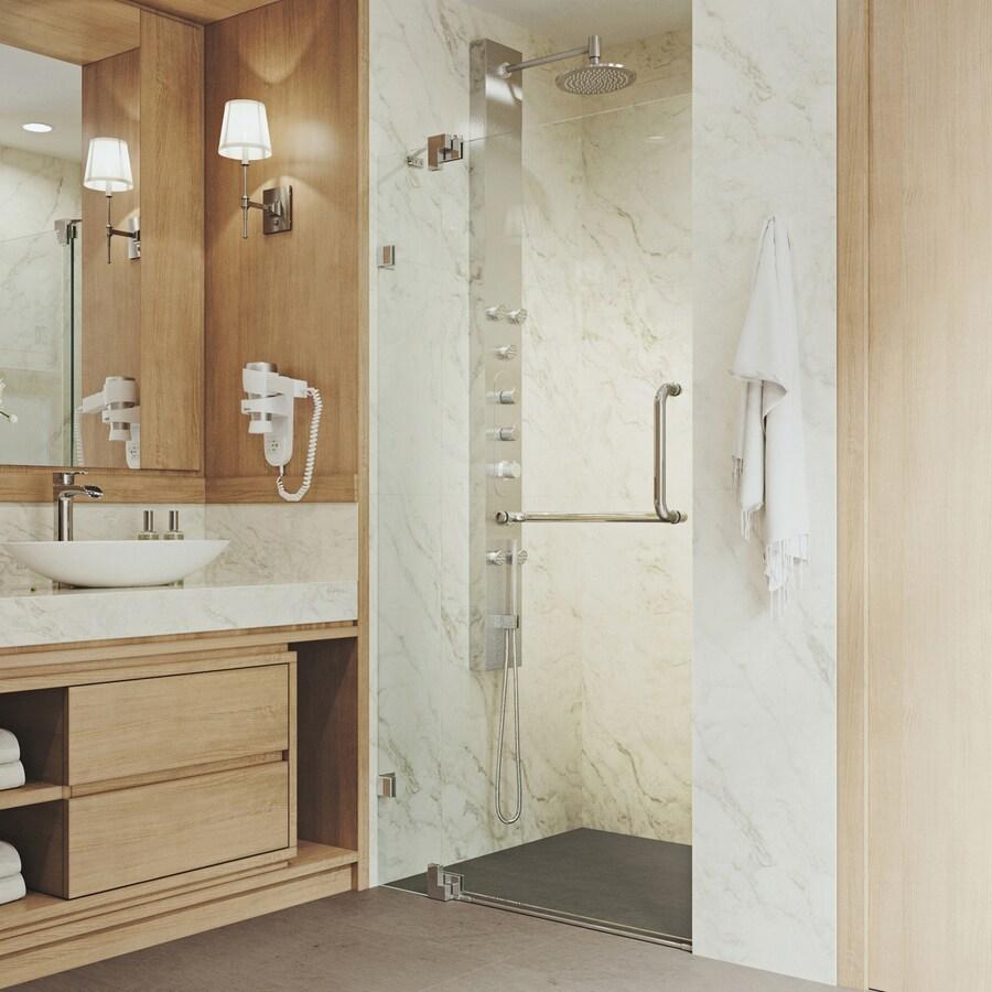 VIGO Pirouette 36-in to 42-in Frameless Chrome Hinged Shower Door