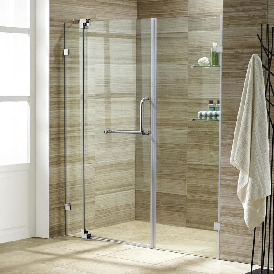 VIGO Pirouette 48-in to 54-in Frameless Chrome Hinged Shower Door