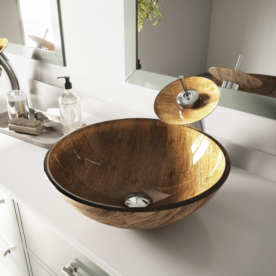 VIGO Multicolor Glass Vessel Round Bathroom Sink
