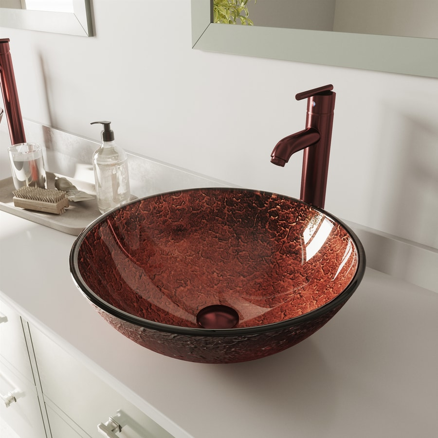 VIGO Copper Glass Vessel Round Bathroom Sink