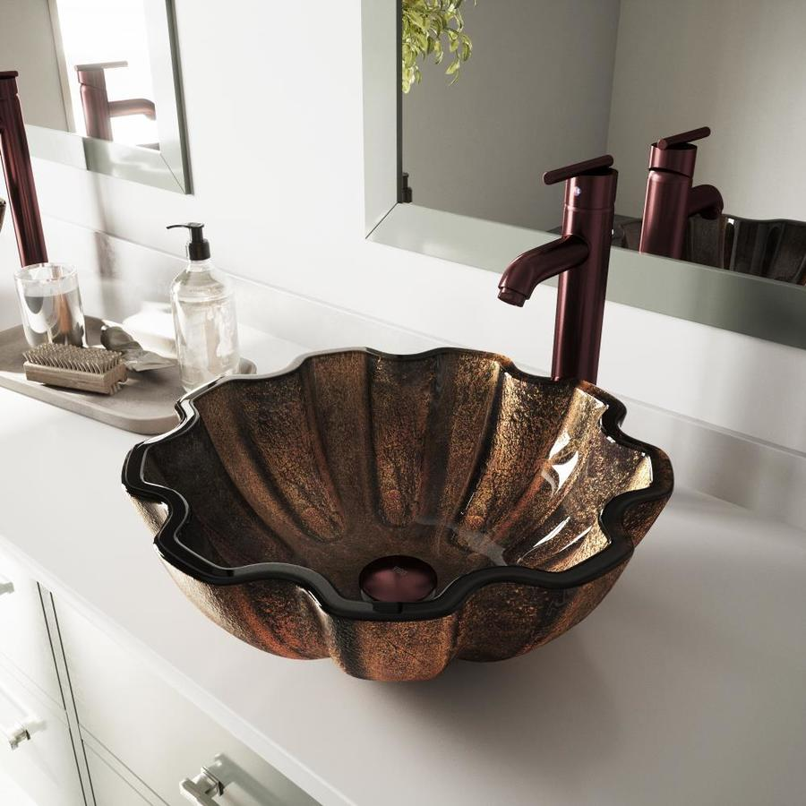 VIGO Walnut Shell Glass Vessel Round Bathroom Sink