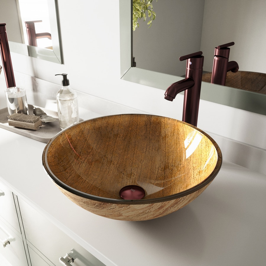 VIGO Amber Sunset Glass Vessel Round Bathroom Sink with Faucet (Drain Included)