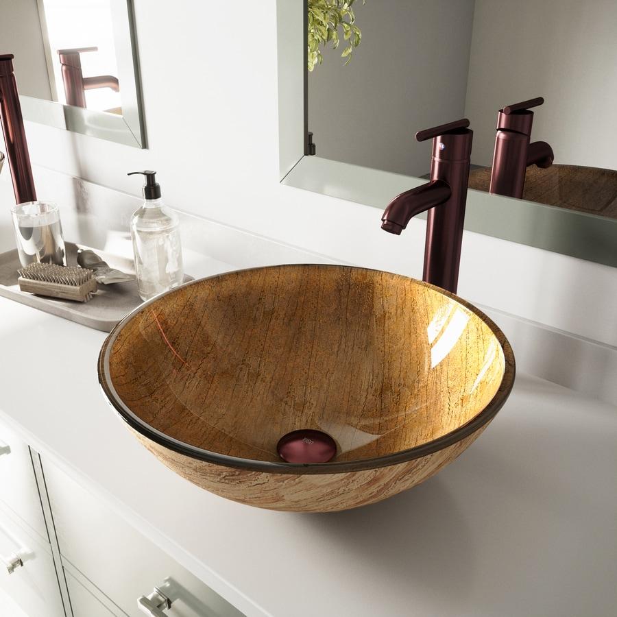 VIGO 6-in D Multicolor Glass Round Vessel Sink Faucet Included