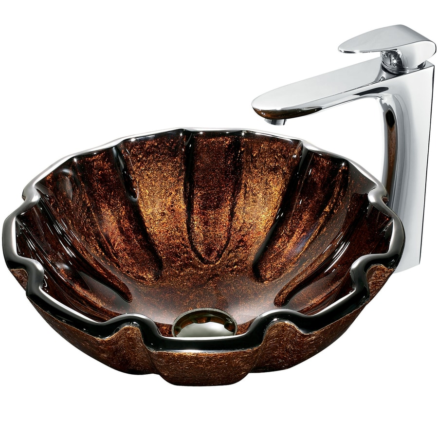 VIGO Multicolor Glass Vessel Bathroom Sink with Faucet (Drain Included)