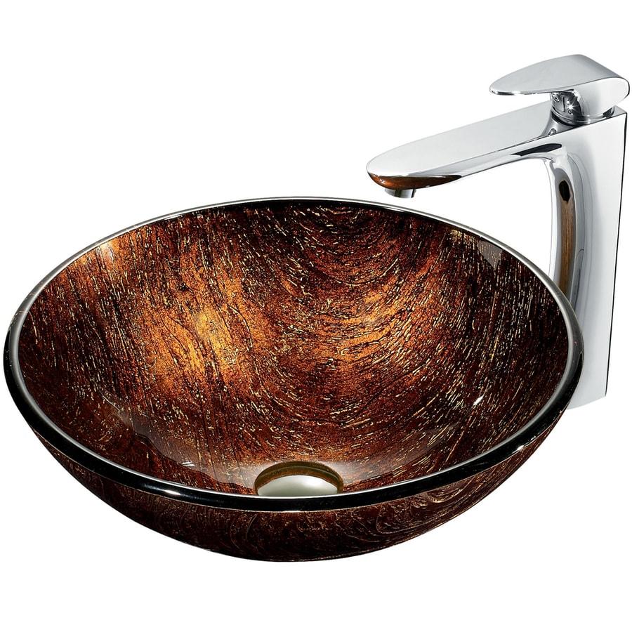 VIGO Multicolor Glass Vessel Bathroom Sink with Faucet (Drain Included)