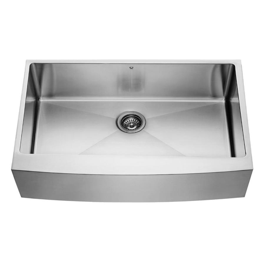 Shop vigo 36 0 in x premium satin single basin stainless steel apron front farmhouse - Kitchen sinks apron front ...