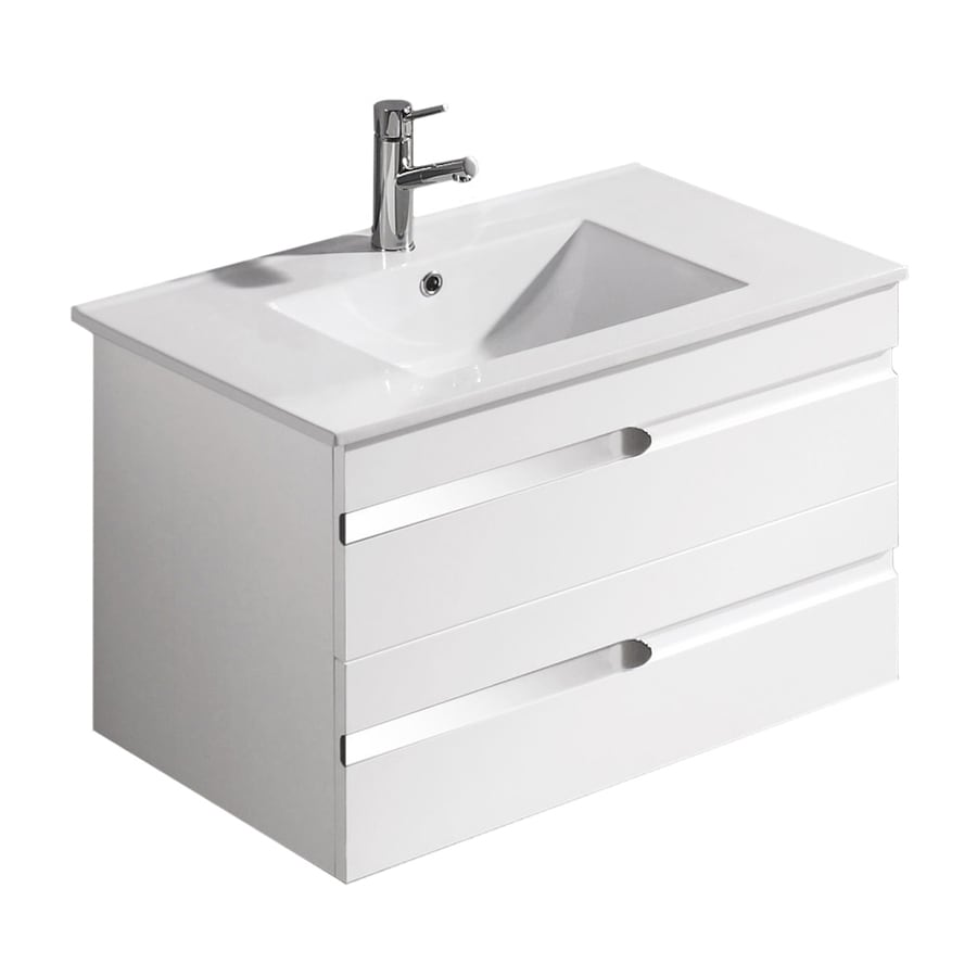 VIGO White Gloss Drop-in Single Sink Bathroom Vanity with Vitreous China Top (Common: 32-in x 18-in; Actual: 32.125-in x 18.5-in)