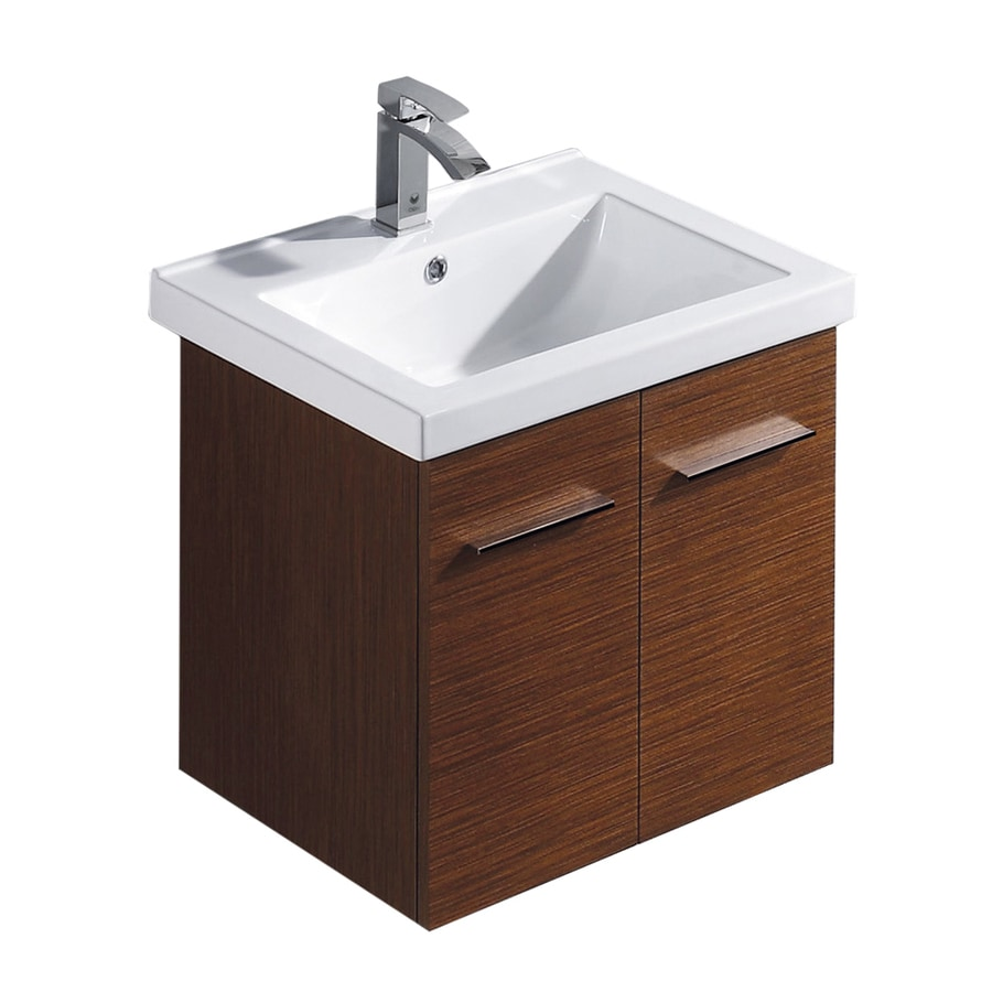 VIGO Wenge Drop-in Single Sink Bathroom Vanity with Vitreous China Top (Common: 23-in x 18-in; Actual: 23.625-in x 18.25-in)