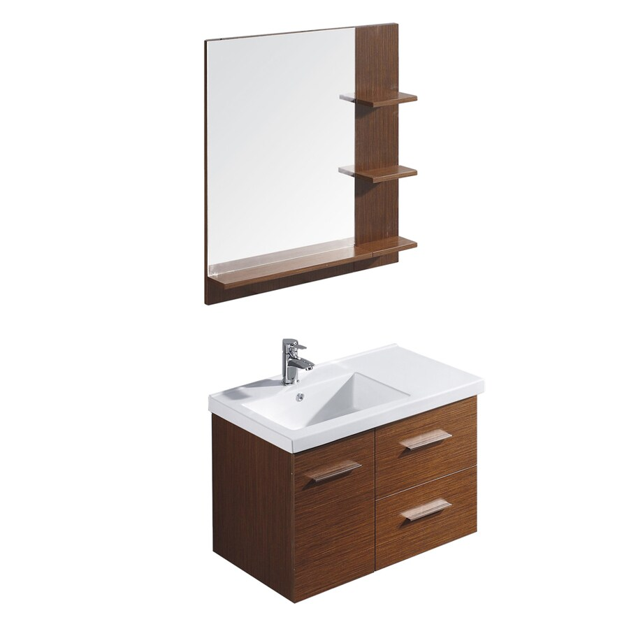 VIGO Wenge Drop-in Single Sink Bathroom Vanity with Vitreous China Top (Common: 31-in x 18-in; Actual: 31.25-in x 18.125-in)