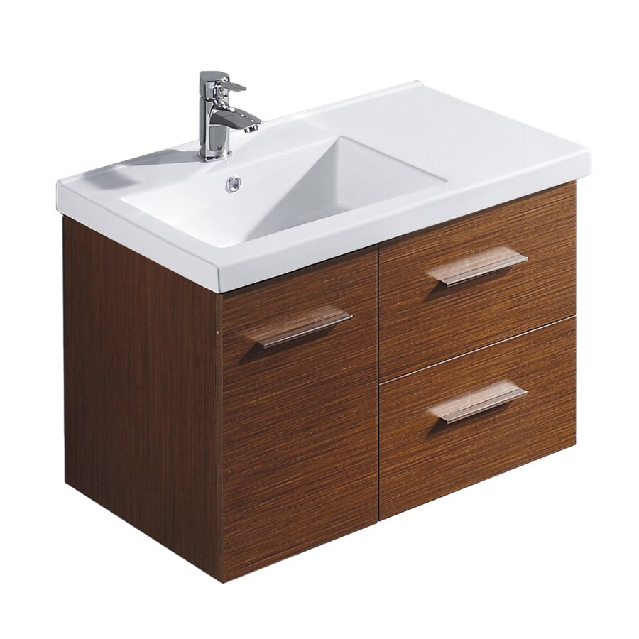 VIGO Wenge (Common: 31-in x 18-in) Drop-in Single Sink Bathroom Vanity with Vitreous China Top (Actual: 31.25-in x 18.125-in)