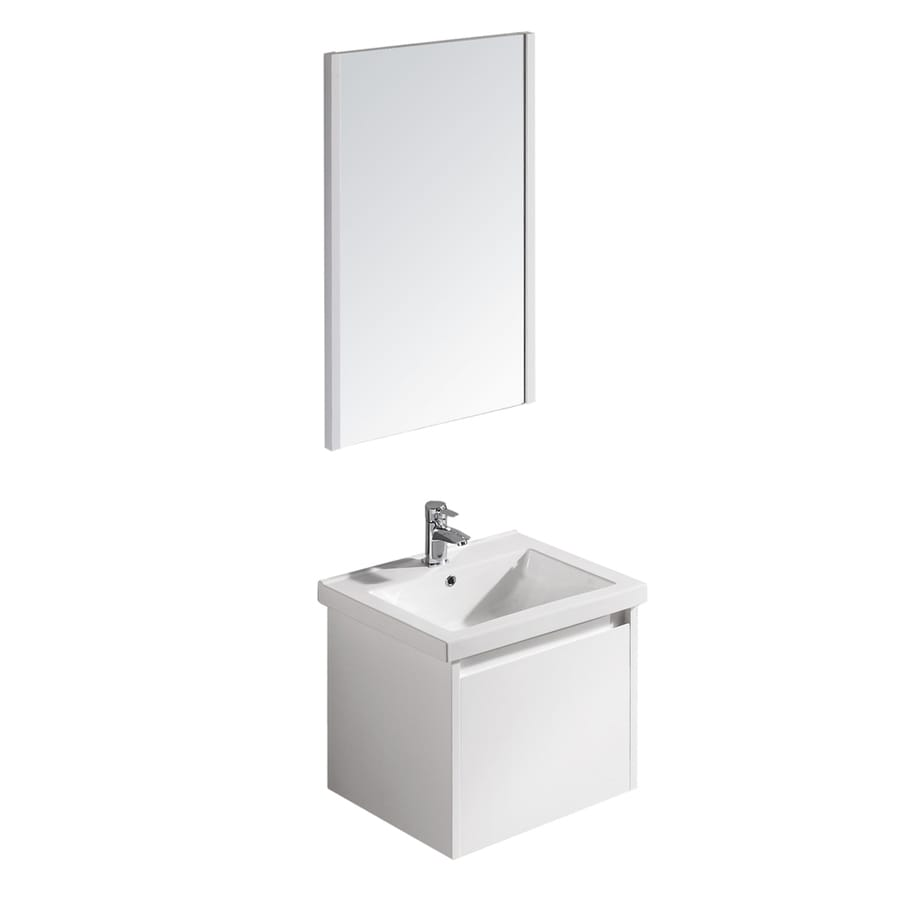 VIGO White Gloss 31.25-in Drop-in Single Sink Bathroom Vanity with Vitreous China Top (Mirror Included)