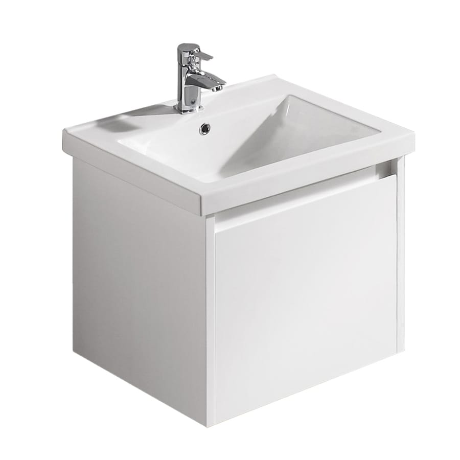 VIGO White Gloss 23.5-in Drop-in Single Sink Bathroom Vanity with Vitreous China Top