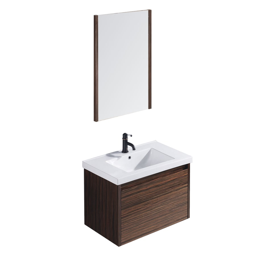 VIGO Ebony Drop-in Single Sink Bathroom Vanity with Vitreous China Top (Common: 31-in x 19-in; Actual: 31.625-in x 19-in)