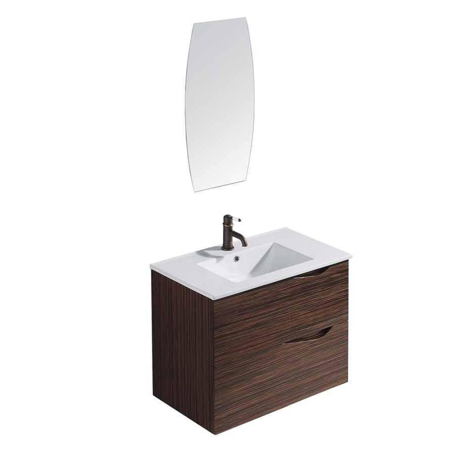 VIGO Ebony Drop-in Single Sink Bathroom Vanity with Vitreous China Top (Common: 32-in x 18-in; Actual: 32-in x 18.5-in)