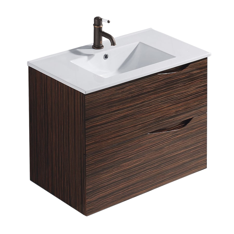 VIGO Ebony 32-in Drop-in Single Sink Bathroom Vanity with Vitreous China Top