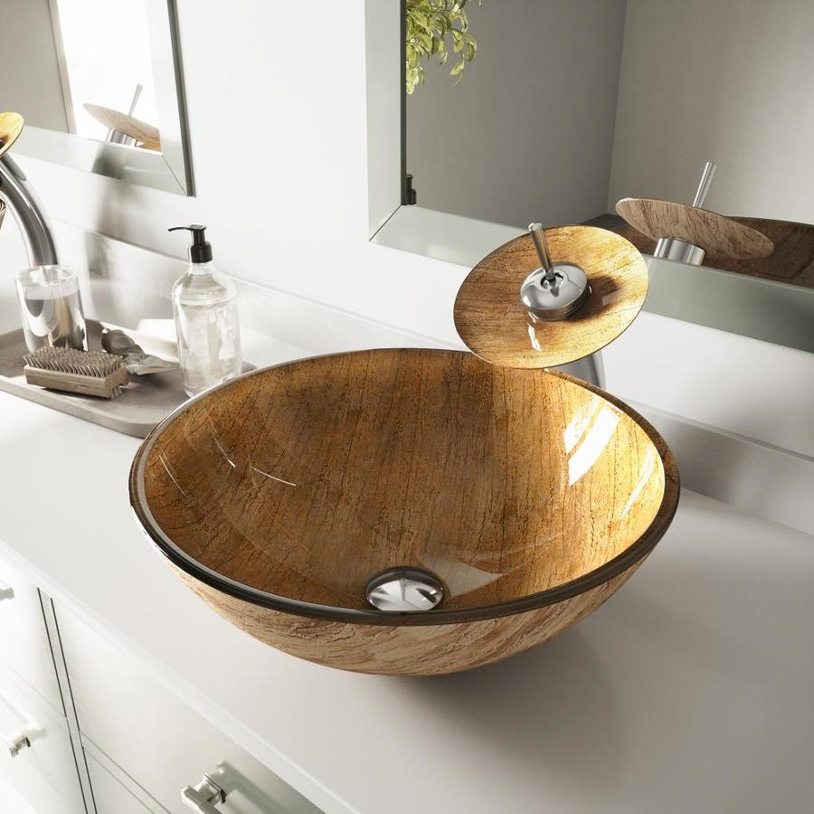 VIGO Vessel Sink and Faucet Set Amber Sunset Glass Vessel Round Bathroom Sink with Faucet (Drain Included)