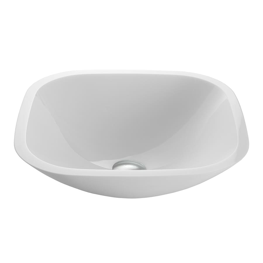 VIGO White Glass Vessel Round Bathroom Sink