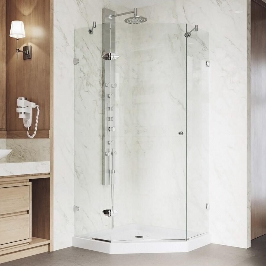VIGO Verona 36-in to 36-in Frameless Chrome Hinged Shower Door