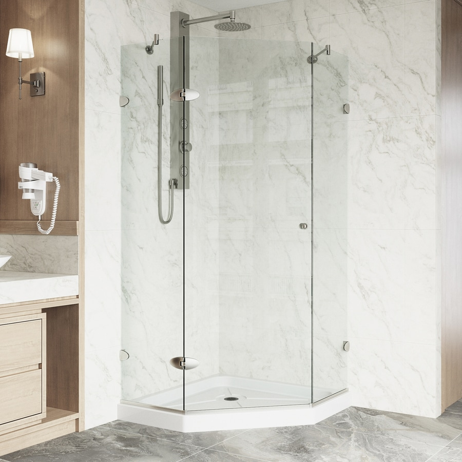 Shop VIGO Verona Frameless Brushed Nickel Shower Door at Lowes.com
