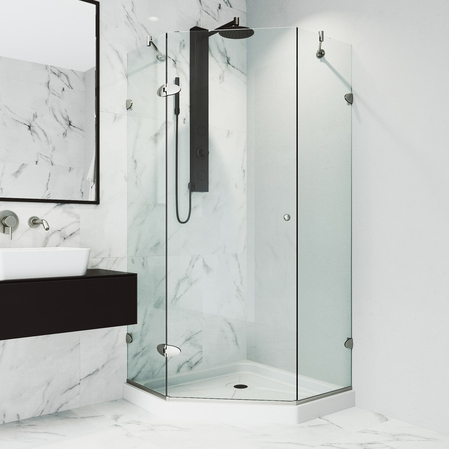 VIGO Verona 40-in to 40-in Frameless Brushed Nickel Hinged Shower Door