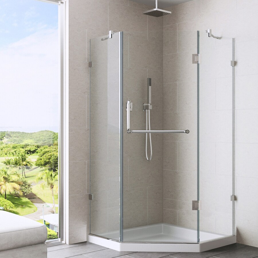 VIGO Piedmont 36-in to 36-in Frameless Chrome Hinged Shower Door