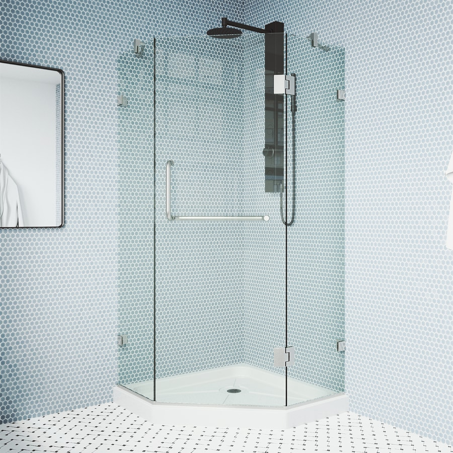 VIGO Piedmont 40.25-in W x 76-3/4-in H Brushed Nickel Frameless Neo-Angle Shower Door