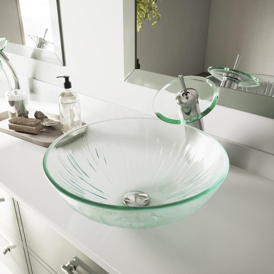 Shop VIGO Vessel Sink & Faucet Set Icicles Glass Vessel Round ...