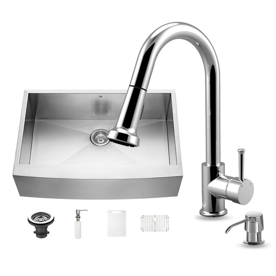 VIGO 33.0-in x 22.25-in Single-Basin Stainless Steel Apron Front/Farmhouse Commercial/Residential Kitchen Sink All-In-One Kit