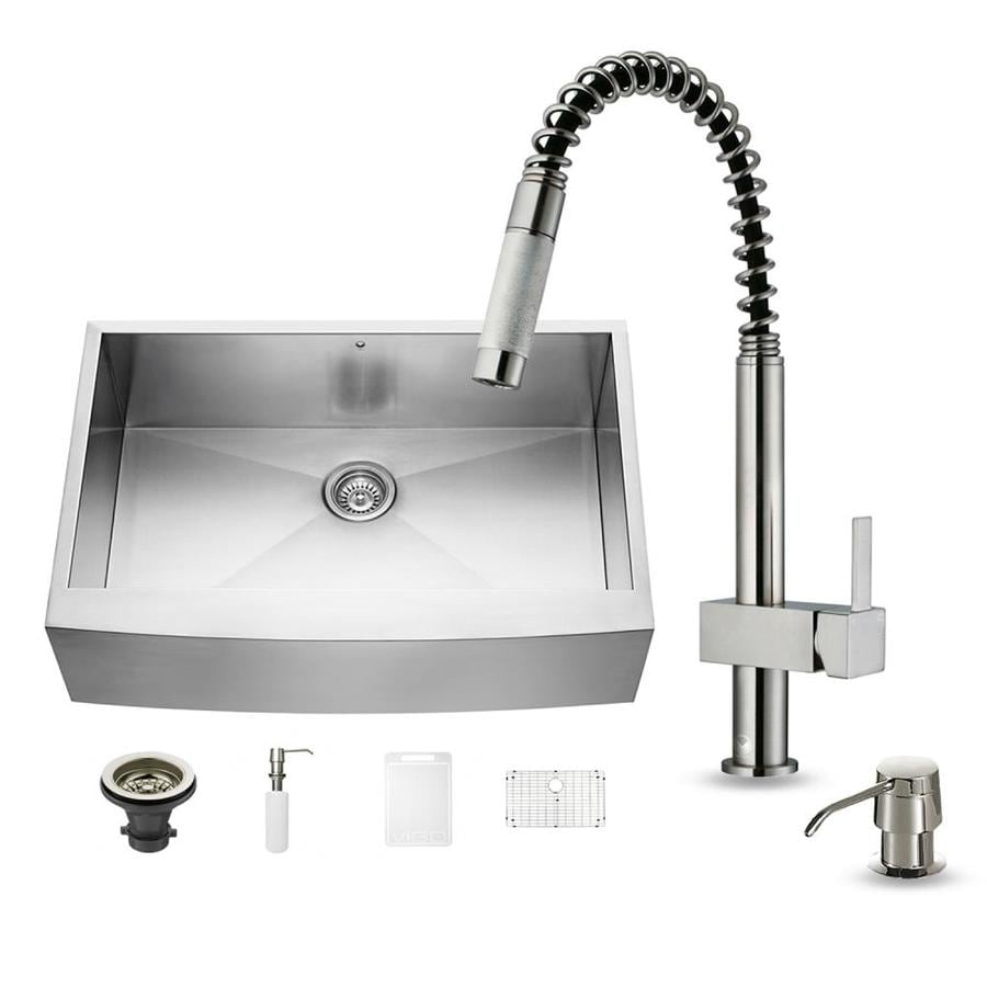 VIGO 33.0-in x 22.25-in Premium Satin Single-Basin Stainless Steel Apron Front/Farmhouse Commercial/Residential Kitchen Sink All-In-One Kit