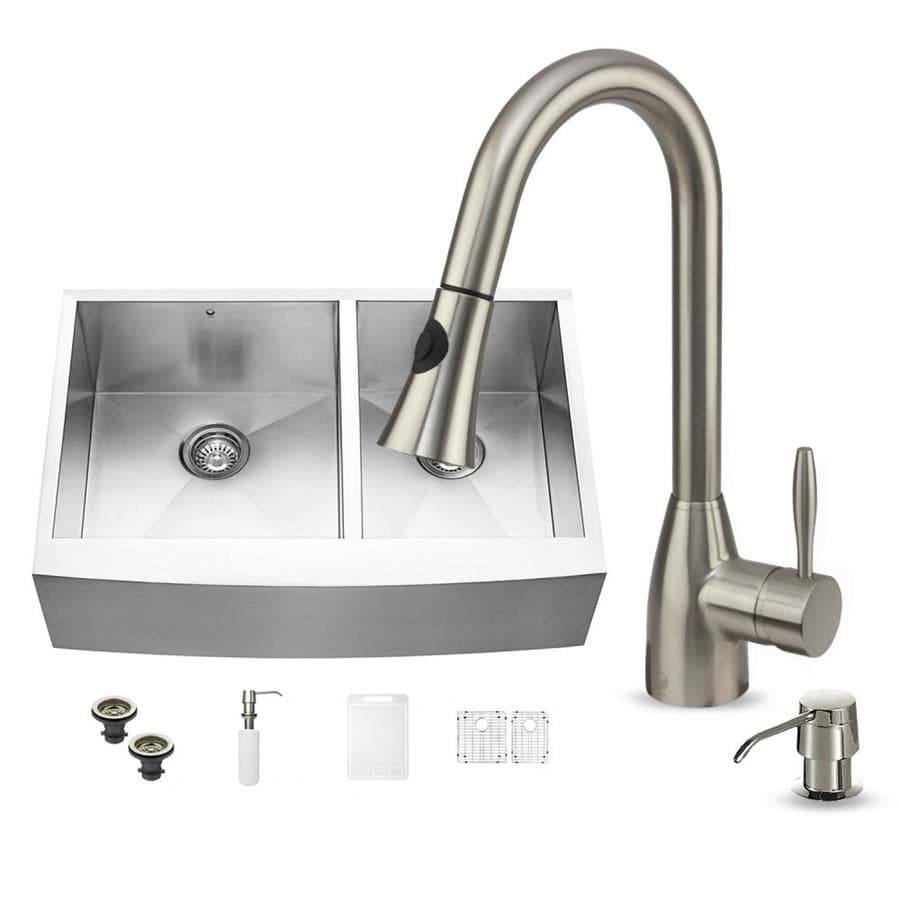 VIGO 33-in x 22.25-in Stainless Steel Double-Basin Apron Front/Farmhouse Commercial/Residential Kitchen Sink All-In-One Kit